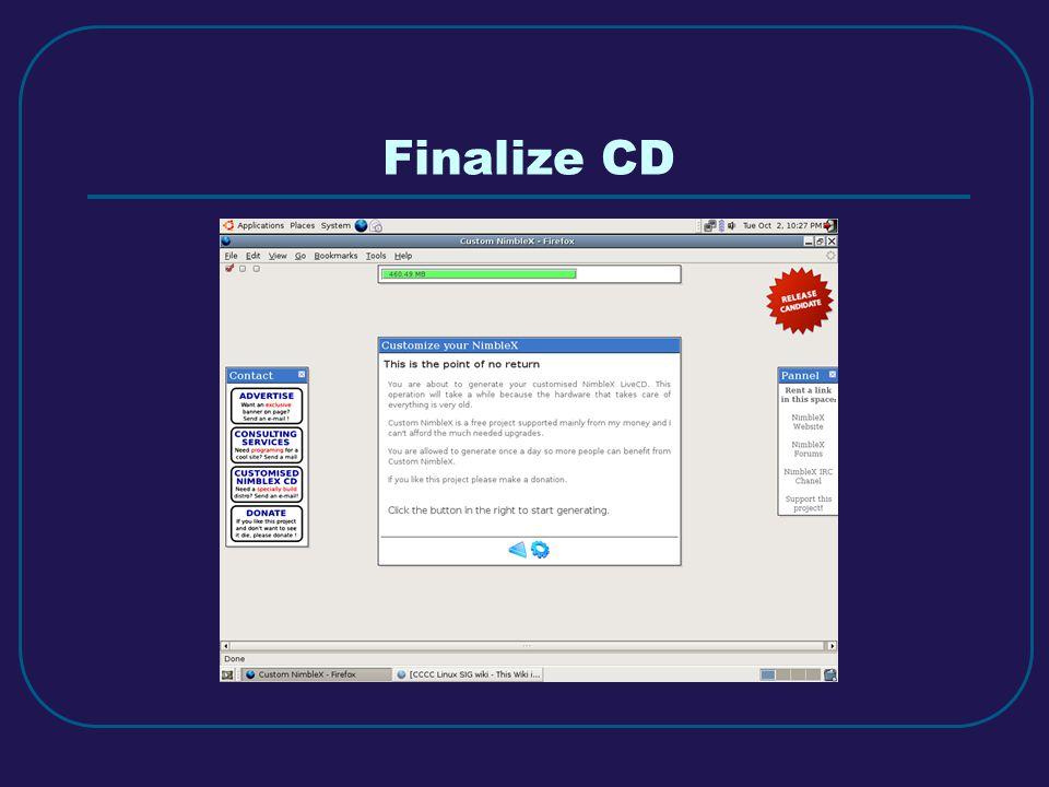 Finalize CD