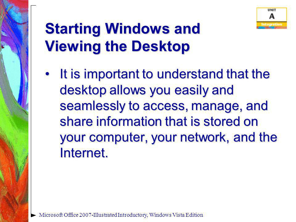 Microsoft Office 2007-Illustrated Introductory, Windows Vista Edition Starting Windows and Viewing the Desktop It is important to understand that the desktop allows you easily and seamlessly to access, manage, and share information that is stored on your computer, your network, and the Internet.It is important to understand that the desktop allows you easily and seamlessly to access, manage, and share information that is stored on your computer, your network, and the Internet.