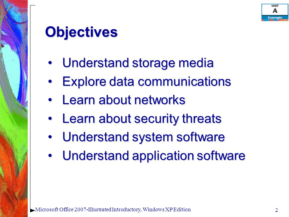 Objectives Understand storage mediaUnderstand storage media Explore data communicationsExplore data communications Learn about networksLearn about net