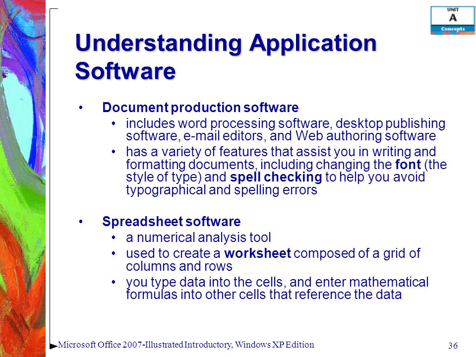 36 Microsoft Office 2007-Illustrated Introductory, Windows XP Edition Understanding Application Software Document production software includes word pr