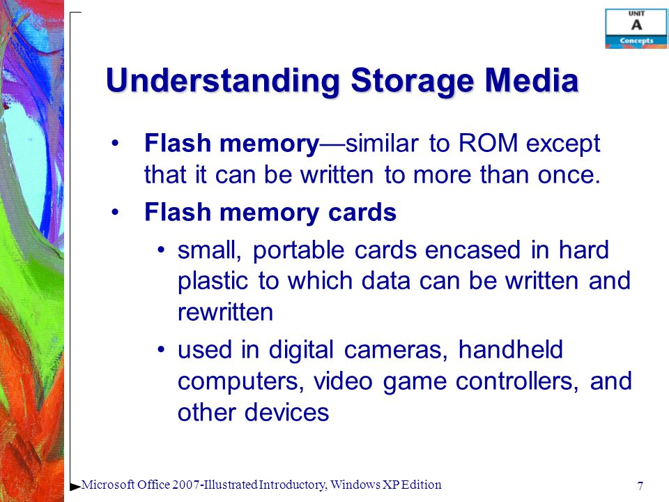 7 Microsoft Office 2007-Illustrated Introductory, Windows XP Edition Understanding Storage Media Flash memory—similar to ROM except that it can be wri