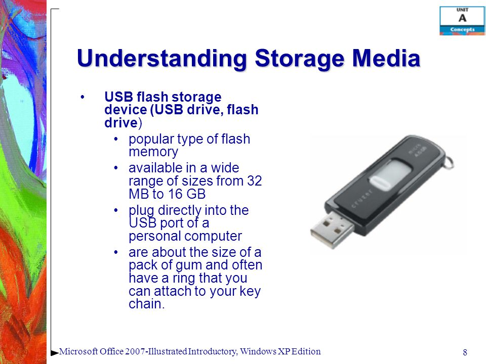 8 Microsoft Office 2007-Illustrated Introductory, Windows XP Edition Understanding Storage Media USB flash storage device (USB drive, flash drive) pop