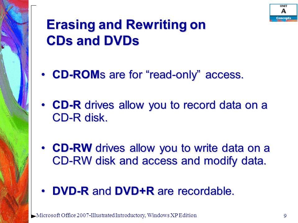 "9 Microsoft Office 2007-Illustrated Introductory, Windows XP Edition Erasing and Rewriting on CDs and DVDs CD-ROMs are for ""read-only"" access.CD-ROMs"