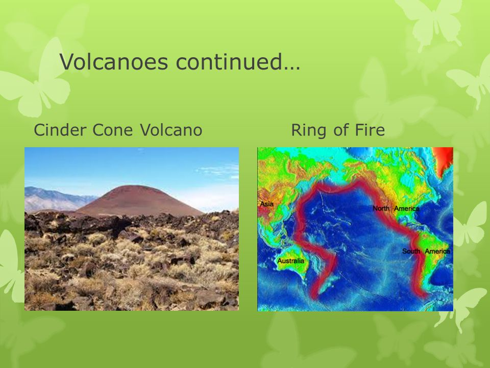 Volcanoes continued… Cinder Cone VolcanoRing of Fire
