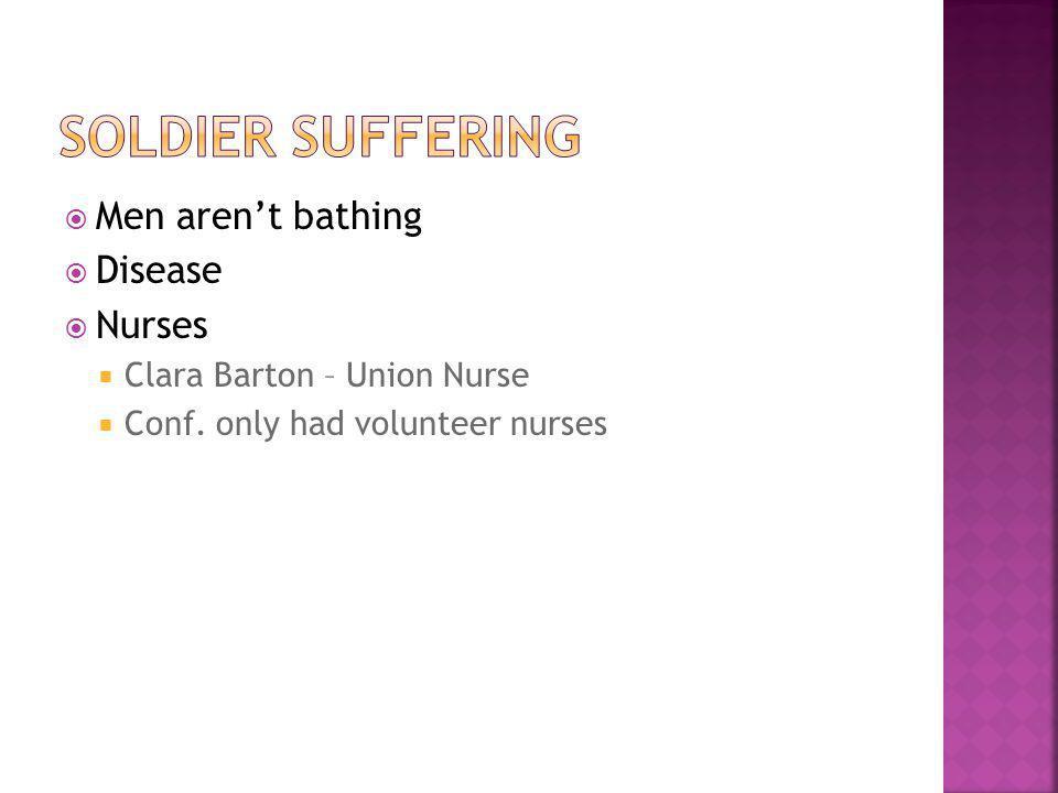  Men aren't bathing  Disease  Nurses  Clara Barton – Union Nurse  Conf.