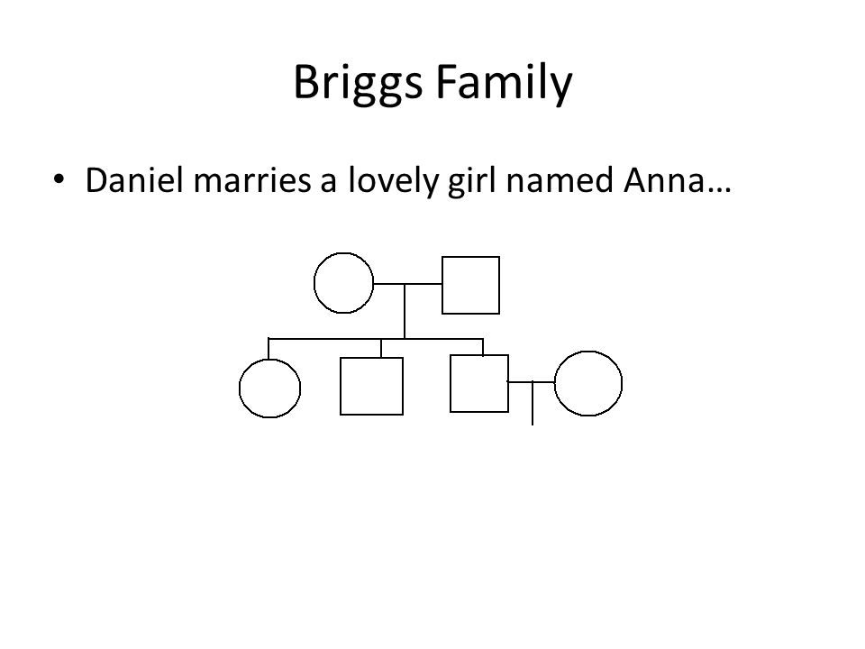 Briggs Family Daniel marries a lovely girl named Anna…