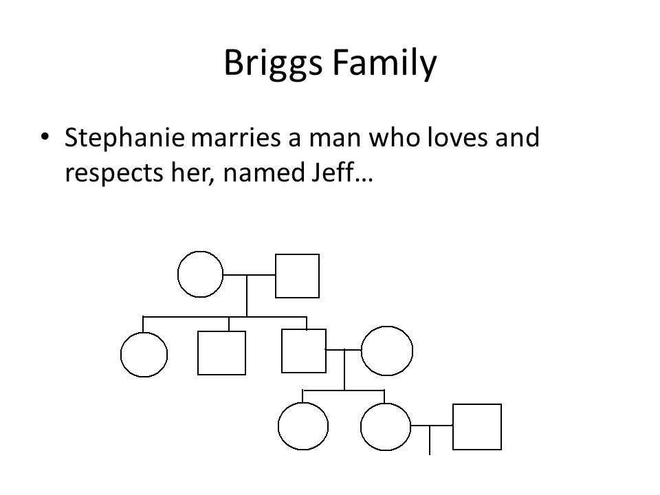 Briggs Family Stephanie marries a man who loves and respects her, named Jeff…