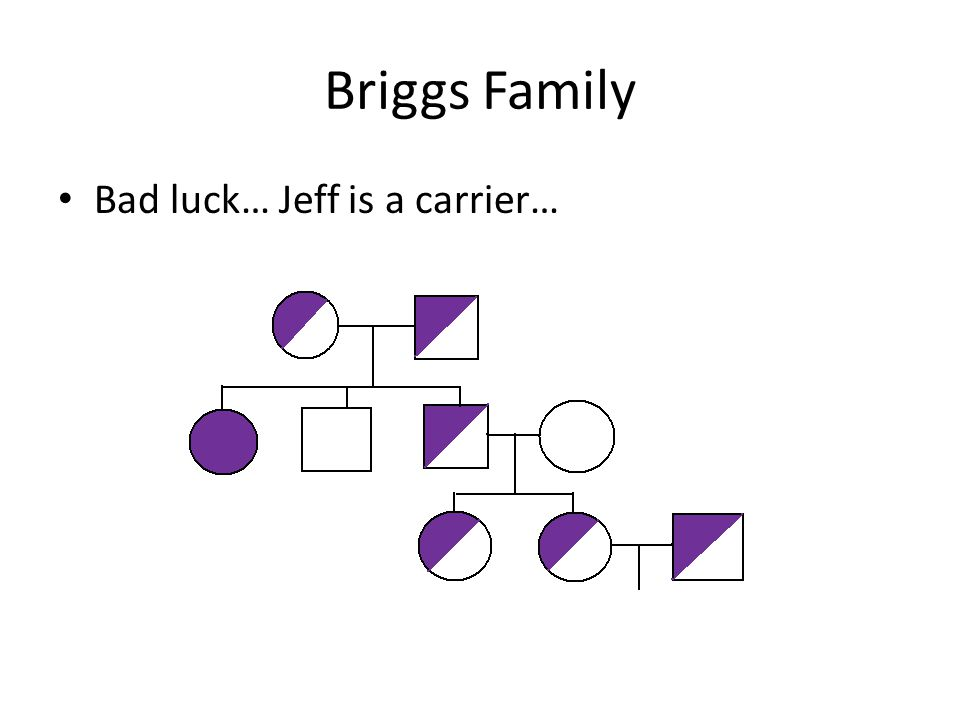 Briggs Family Bad luck… Jeff is a carrier…