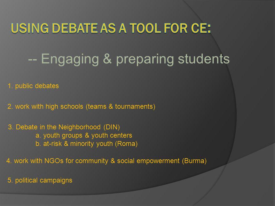 Civic Engagement/PEP concerns: Attitudes Values Beliefs Debate teaches: Knowledge Issue affect Advocacy (behavior)