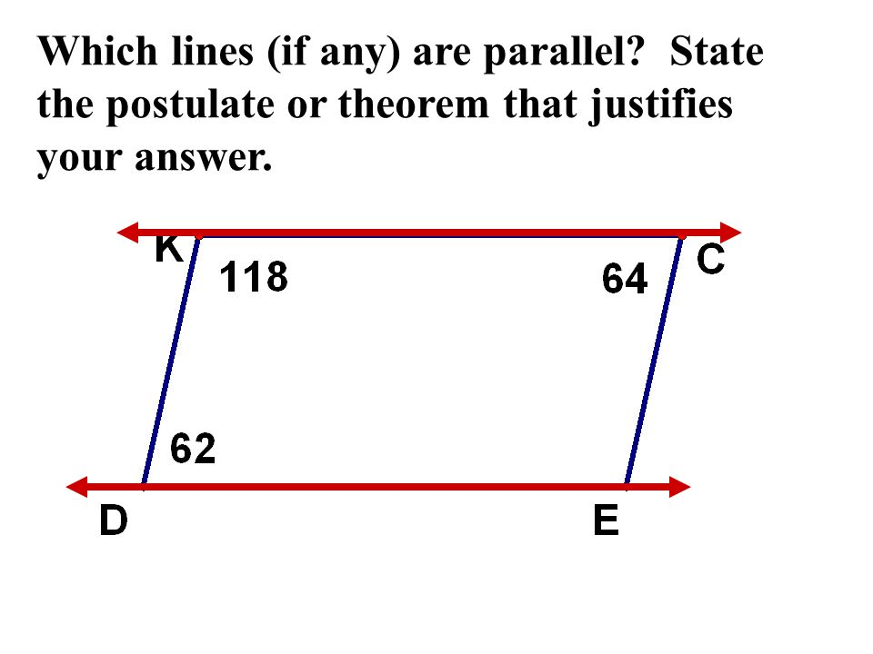 Which lines (if any) are parallel? State the postulate or theorem that justifies your answer.