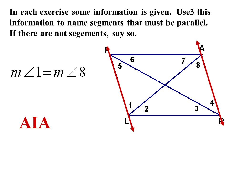 In each exercise some information is given.