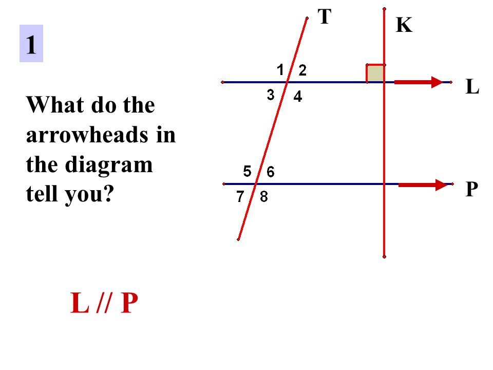 L P 1 What do the arrowheads in the diagram tell you? L // P K T