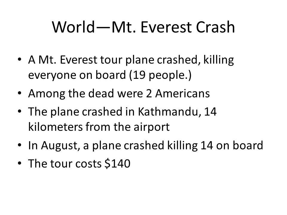World—Mt. Everest Crash A Mt.