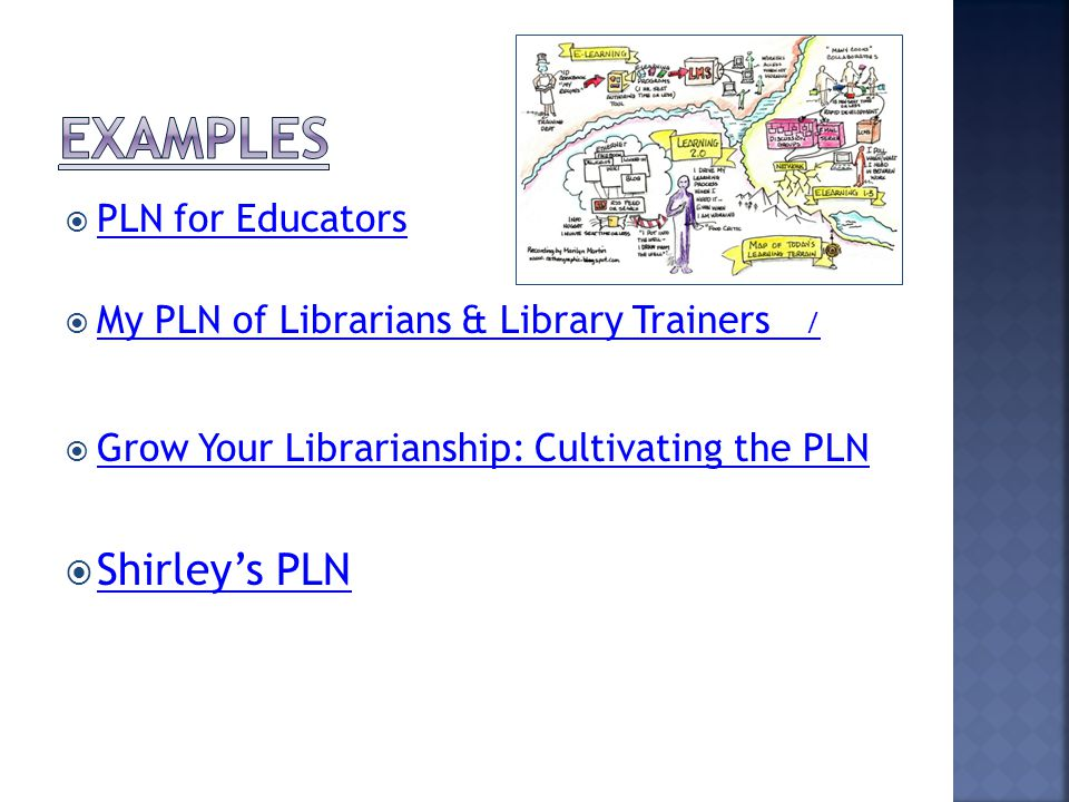  PLN for Educators PLN for Educators  My PLN of Librarians & Library Trainers / My PLN of Librarians & Library Trainers /  Grow Your Librarianship: Cultivating the PLN Grow Your Librarianship: Cultivating the PLN  Shirley's PLN Shirley's PLN