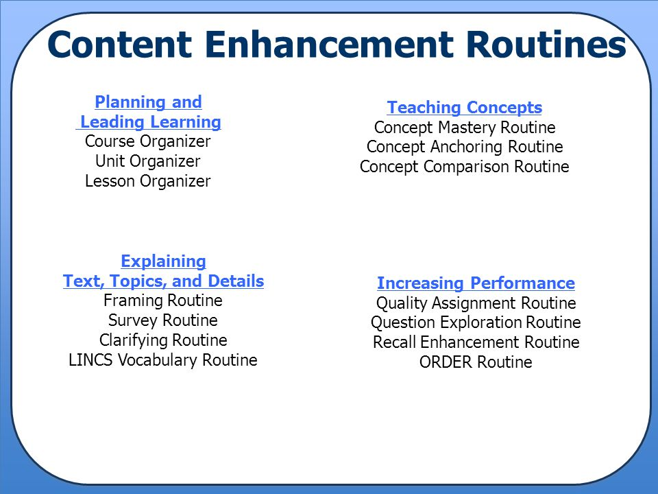 Content Enhancement Routines Planning and Leading Learning Course Organizer Unit Organizer Lesson Organizer Explaining Text, Topics, and Details Frami