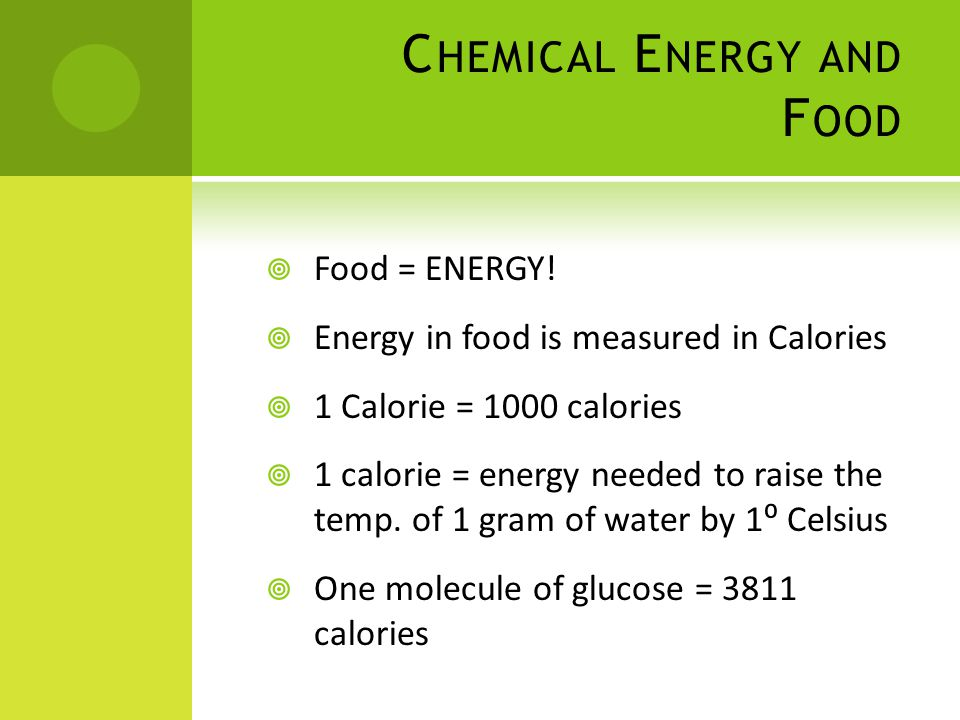 C HEMICAL E NERGY AND F OOD  Food = ENERGY.