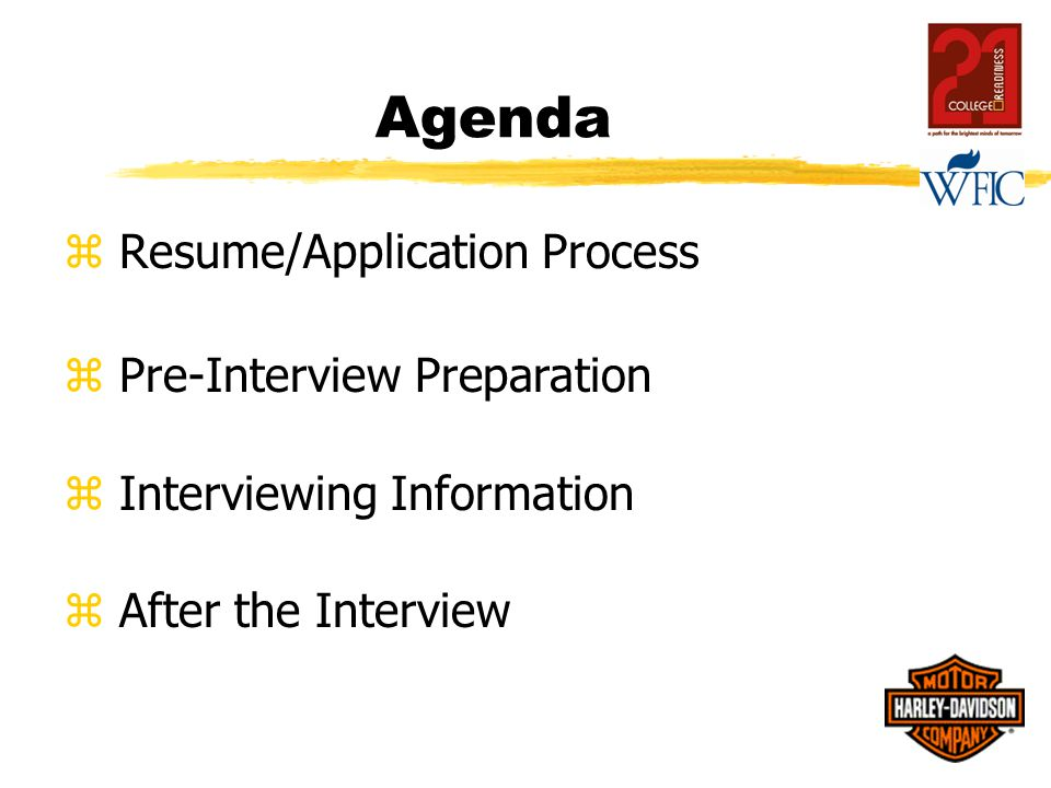 Agenda z Resume/Application Process z Pre-Interview Preparation z Interviewing Information z After the Interview