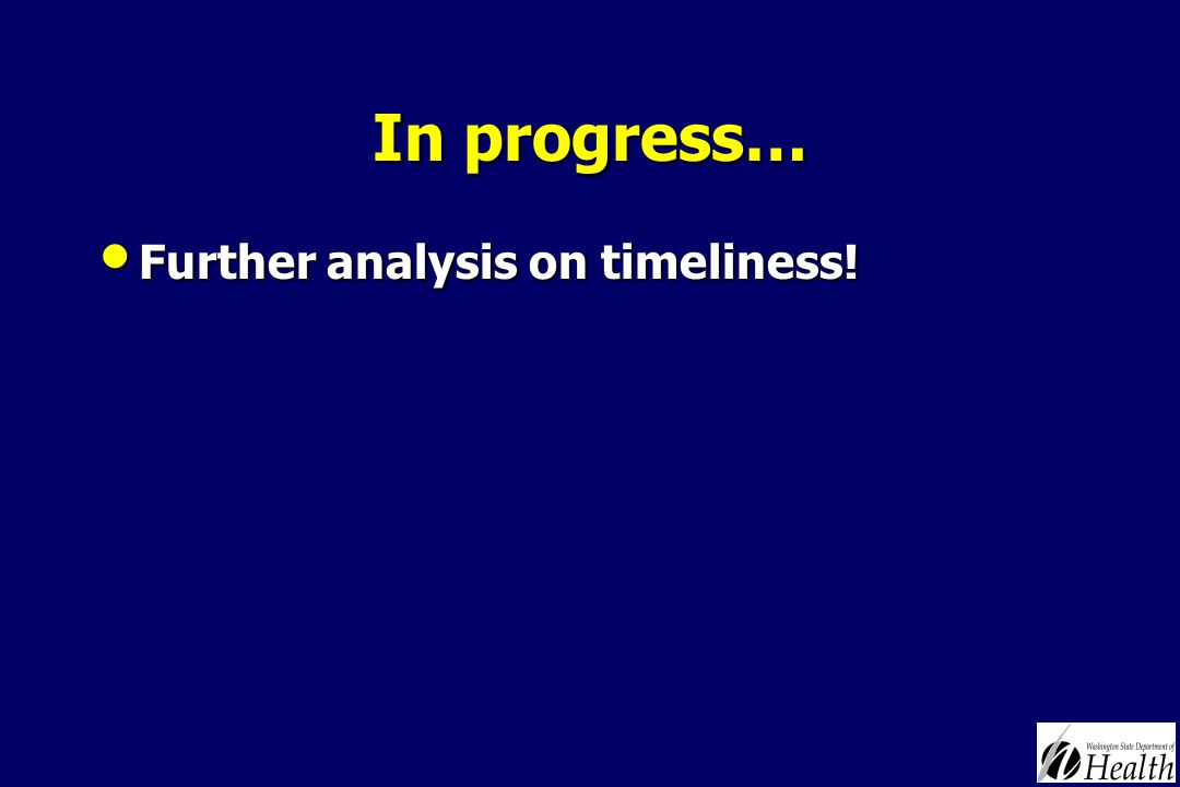 In progress… Further analysis on timeliness! Further analysis on timeliness!