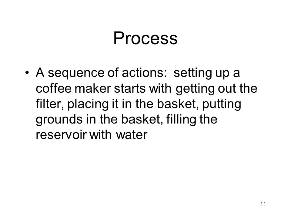 Process A sequence of actions: setting up a coffee maker starts with getting out the filter, placing it in the basket, putting grounds in the basket, filling the reservoir with water 11