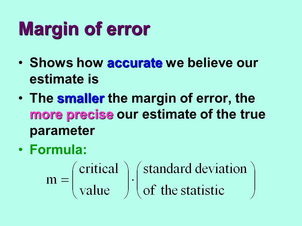 Margin of error accurateShows how accurate we believe our estimate is smaller more preciseThe smaller the margin of error, the more precise our estima