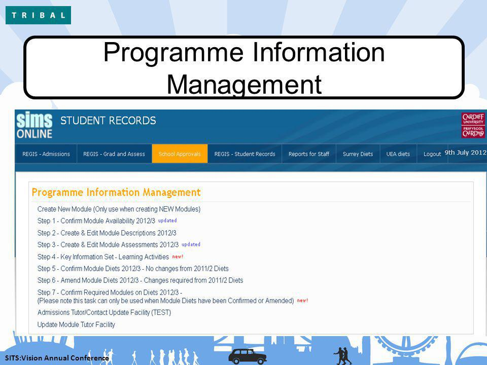 SITS:Vision Annual Conference Programme Information Management
