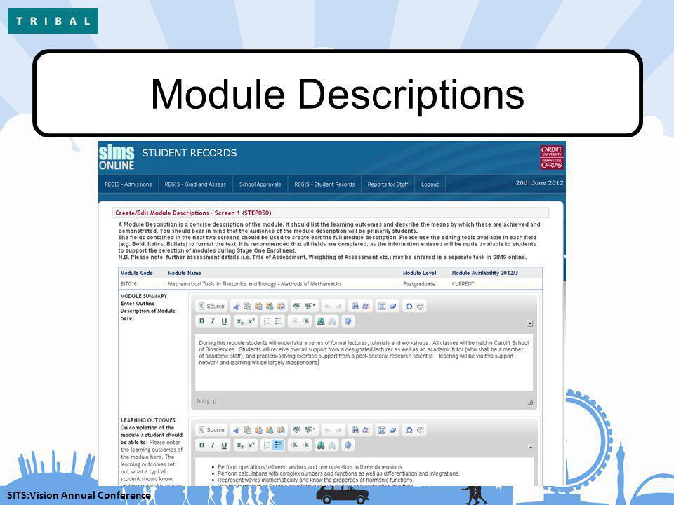 SITS:Vision Annual Conference Module Descriptions