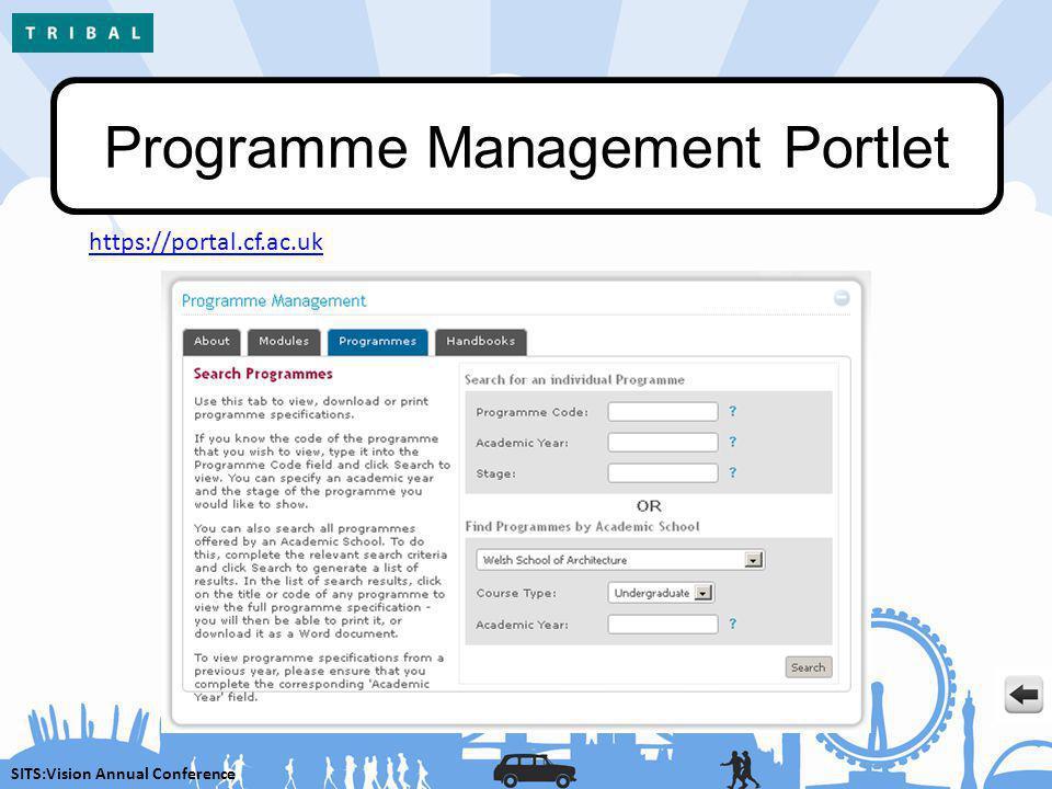 SITS:Vision Annual Conference Programme Management Portlet https://portal.cf.ac.uk