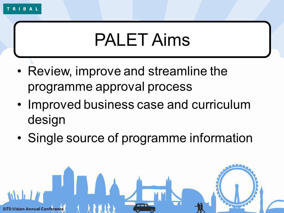 SITS:Vision Annual Conference PALET Aims Review, improve and streamline the programme approval process Improved business case and curriculum design Si