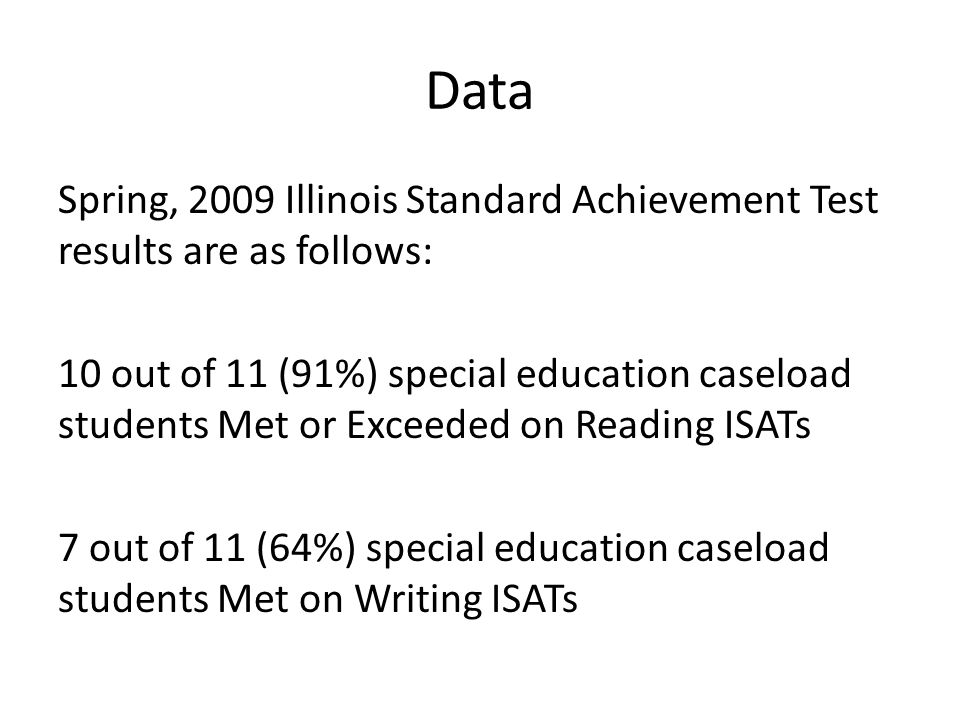 Data Spring, 2009 Illinois Standard Achievement Test results are as follows: 10 out of 11 (91%) special education caseload students Met or Exceeded on Reading ISATs 7 out of 11 (64%) special education caseload students Met on Writing ISATs