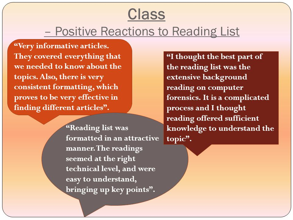 Class – Negative Reactions to Reading List A bit too much reliance on one article for several topics.