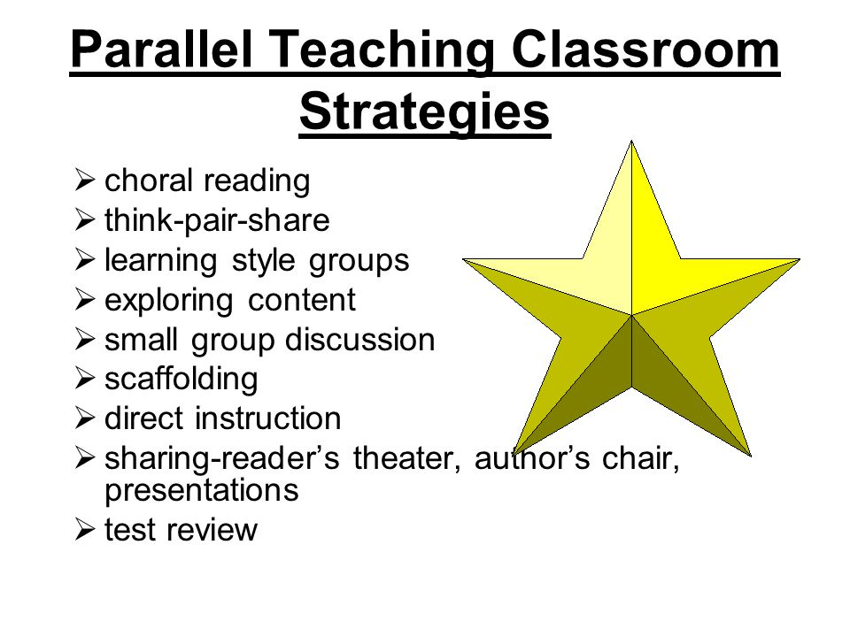 Parallel Teaching Classroom Strategies  choral reading  think-pair-share  learning style groups  exploring content  small group discussion  scaffolding  direct instruction  sharing-reader's theater, author's chair, presentations  test review