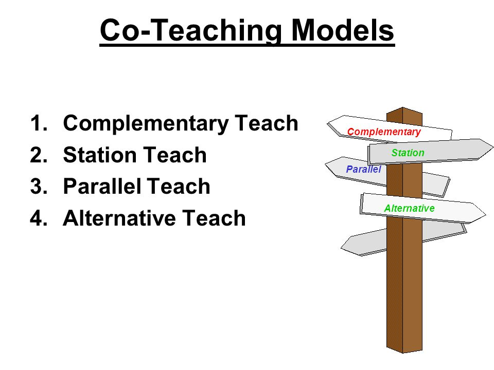 Co-Teaching Models 1.Complementary Teach 2.Station Teach 3.Parallel Teach 4.Alternative Teach Complementary Parallel Station Alternative