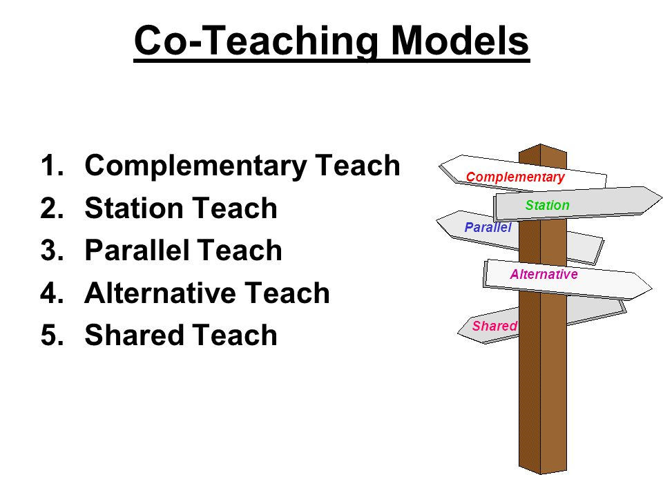 Co-Teaching Models 1.Complementary Teach 2.Station Teach 3.Parallel Teach 4.Alternative Teach 5.Shared Teach Complementary Parallel Station Alternative Shared