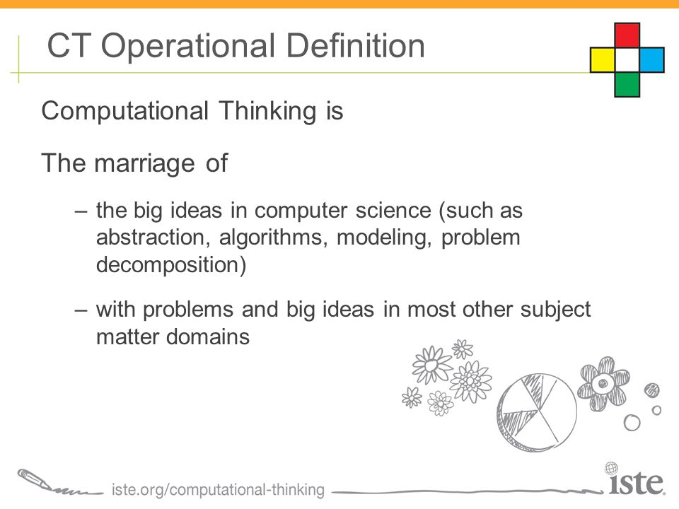 Computational Thinking is The marriage of –the big ideas in computer science (such as abstraction, algorithms, modeling, problem decomposition) –with problems and big ideas in most other subject matter domains CT Operational Definition