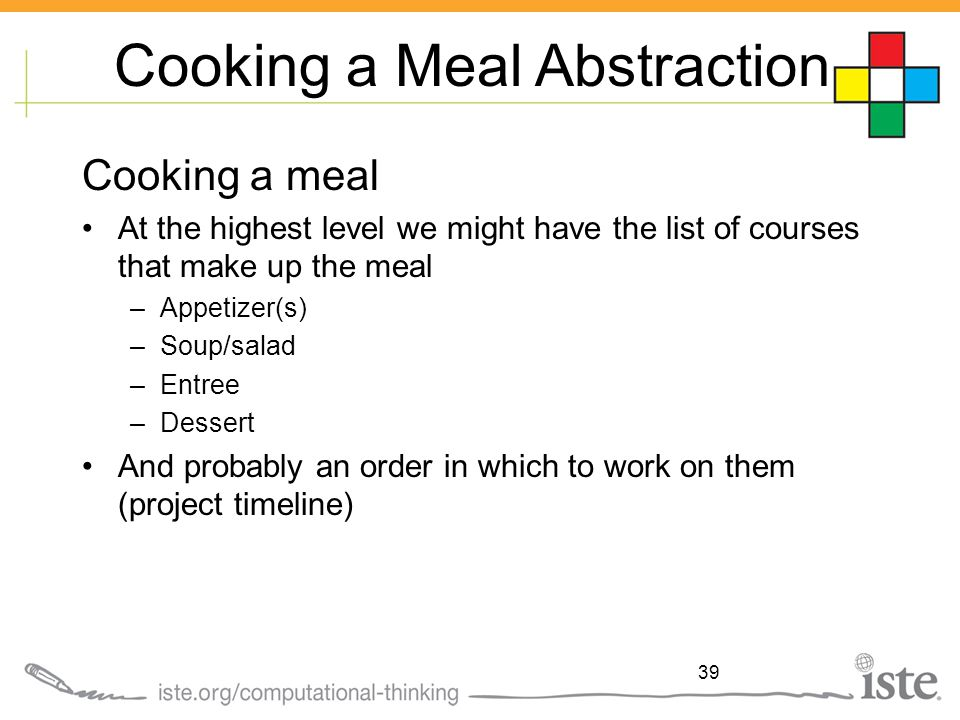 Cooking a Meal Abstraction Cooking a meal At the highest level we might have the list of courses that make up the meal –Appetizer(s) –Soup/salad –Entr