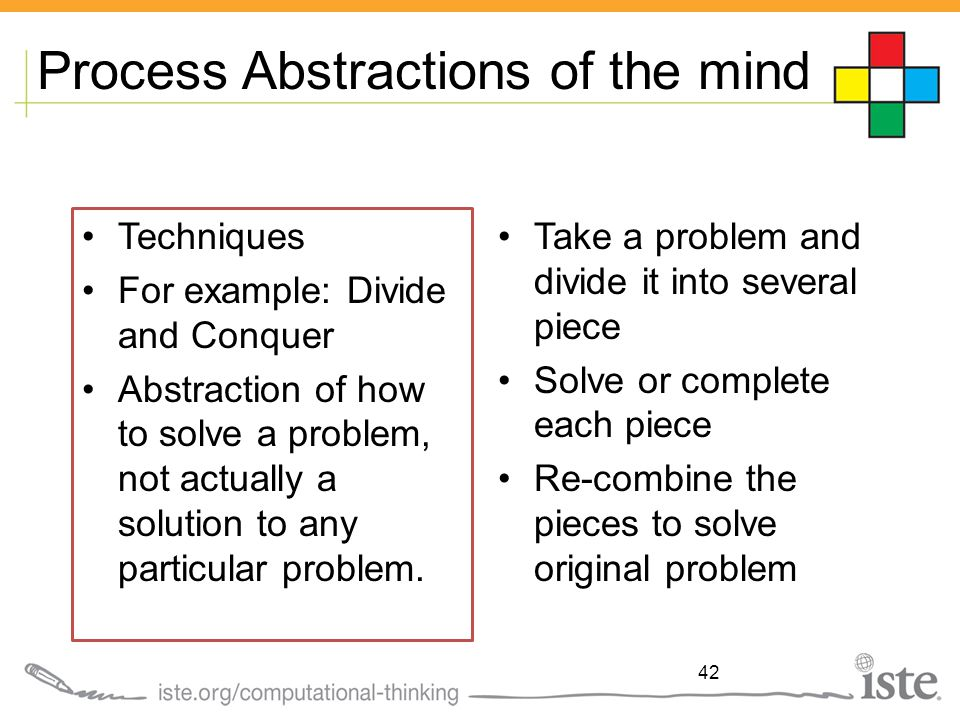 Process Abstractions of the mind Techniques For example: Divide and Conquer Abstraction of how to solve a problem, not actually a solution to any particular problem.