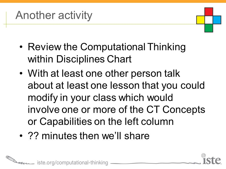Another activity Review the Computational Thinking within Disciplines Chart With at least one other person talk about at least one lesson that you could modify in your class which would involve one or more of the CT Concepts or Capabilities on the left column ?.