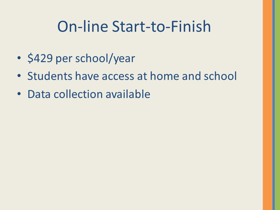 On-line Start-to-Finish $429 per school/year Students have access at home and school Data collection available