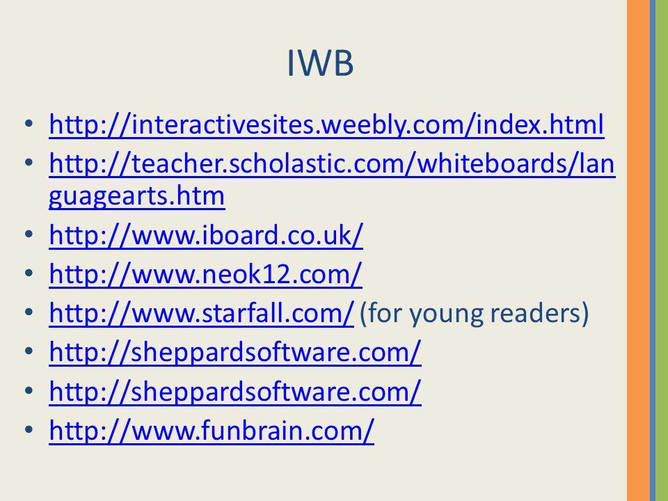 IWB http://interactivesites.weebly.com/index.html http://teacher.scholastic.com/whiteboards/lan guagearts.htm http://teacher.scholastic.com/whiteboards/lan guagearts.htm http://www.iboard.co.uk/ http://www.neok12.com/ http://www.starfall.com/ (for young readers) http://www.starfall.com/ http://sheppardsoftware.com/ http://www.funbrain.com/