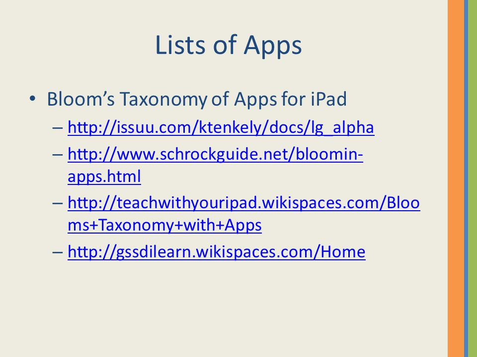 Lists of Apps Bloom's Taxonomy of Apps for iPad – http://issuu.com/ktenkely/docs/lg_alpha http://issuu.com/ktenkely/docs/lg_alpha – http://www.schrockguide.net/bloomin- apps.html http://www.schrockguide.net/bloomin- apps.html – http://teachwithyouripad.wikispaces.com/Bloo ms+Taxonomy+with+Apps http://teachwithyouripad.wikispaces.com/Bloo ms+Taxonomy+with+Apps – http://gssdilearn.wikispaces.com/Home http://gssdilearn.wikispaces.com/Home