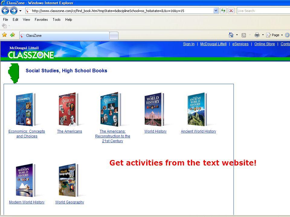 Get activities from the text website!