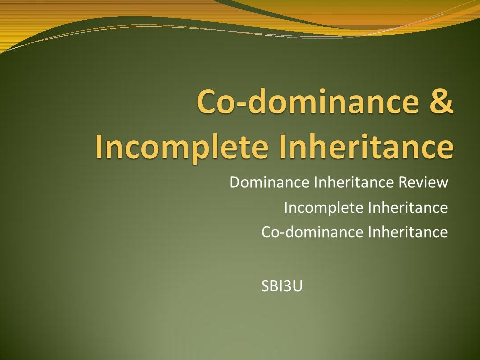 Dominance Inheritance Review Incomplete Inheritance Co-dominance Inheritance SBI3U