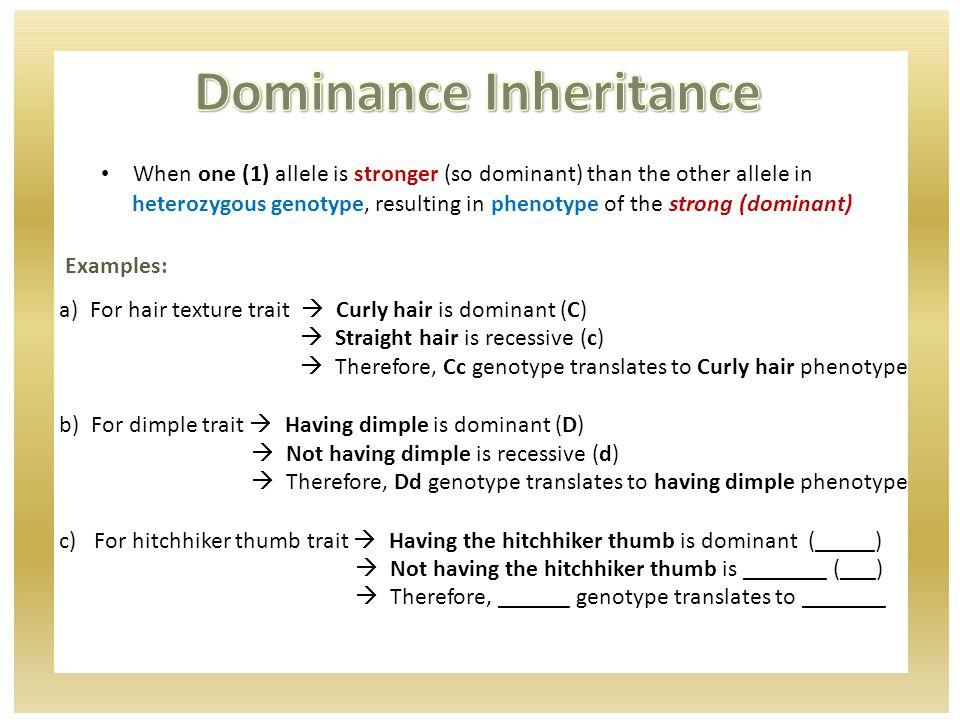 Sample problem: Dwarfism, is a dominant trait.