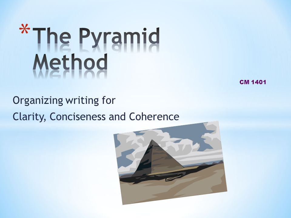 Organizing writing for Clarity, Conciseness and Coherence CM 1401