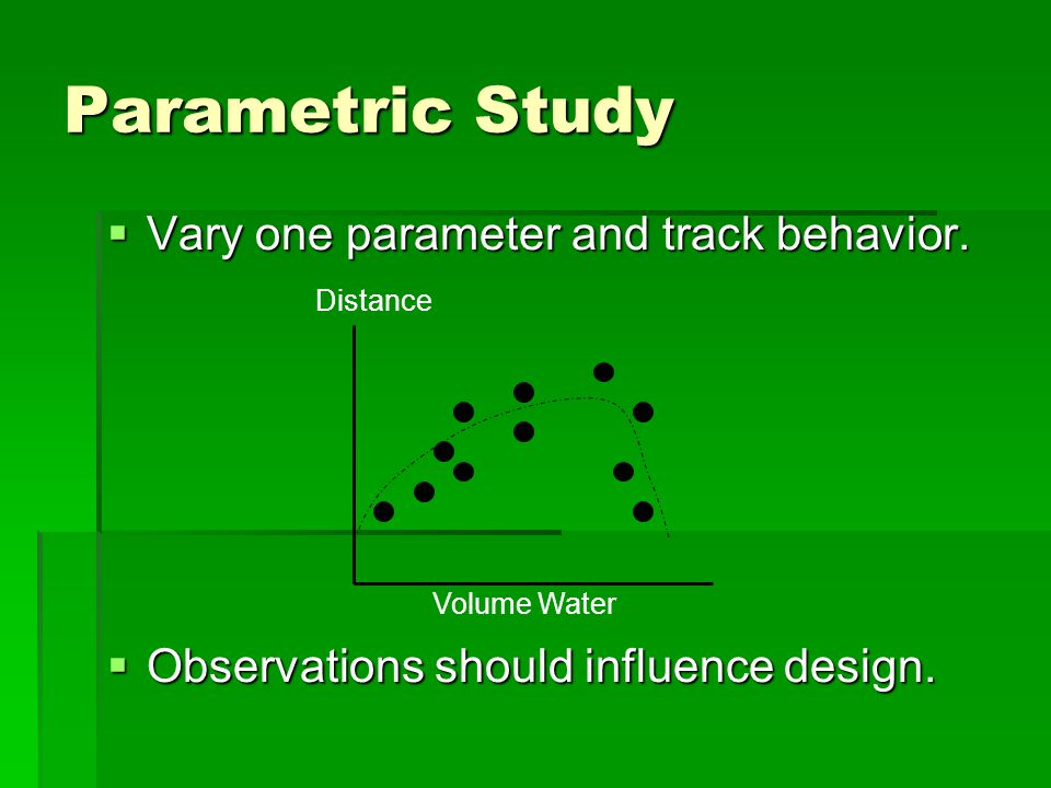 Parametric Study  Vary one parameter and track behavior.