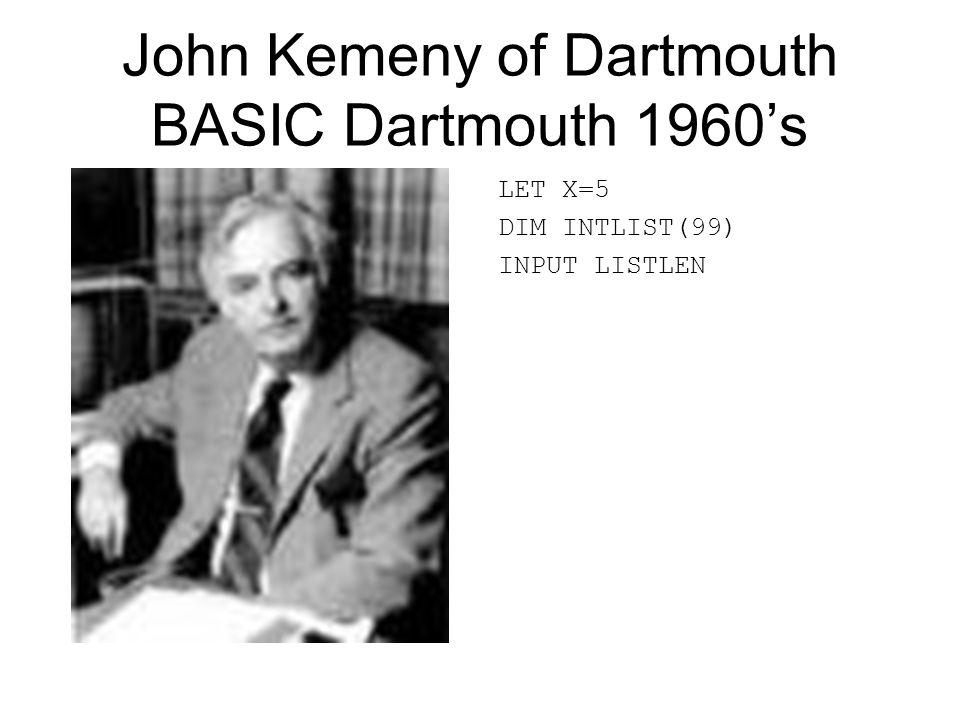 John Kemeny of Dartmouth BASIC Dartmouth 1960's LET X=5 DIM INTLIST(99) INPUT LISTLEN