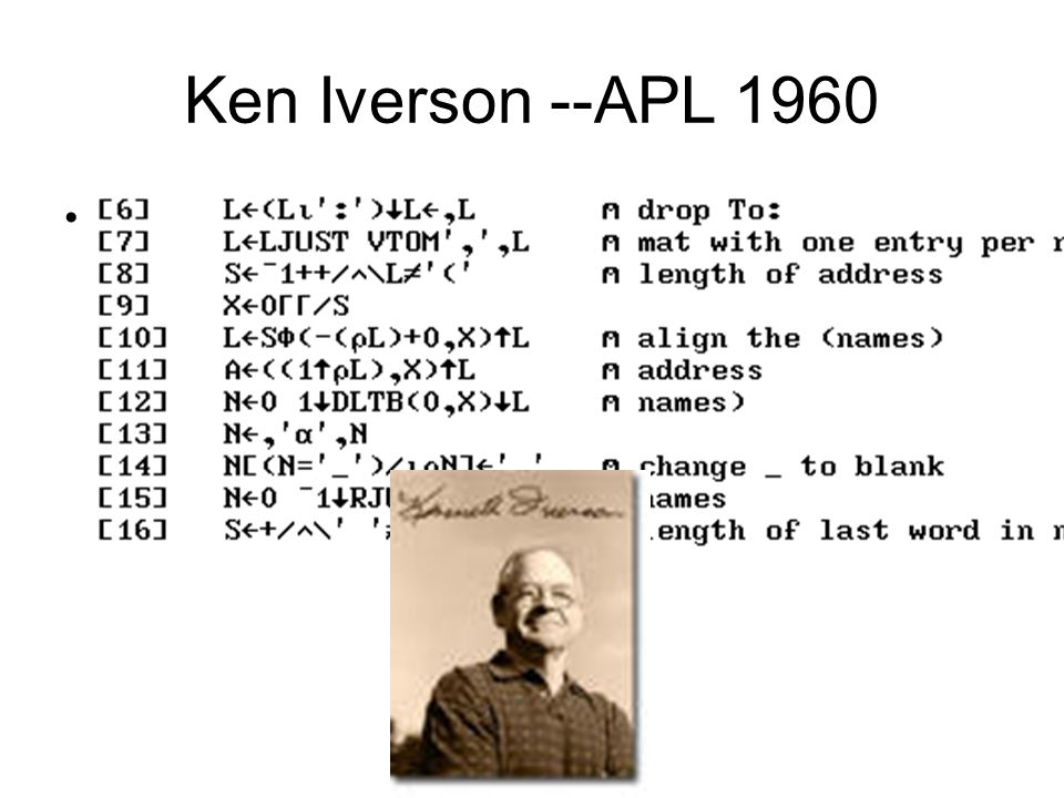 Ken Iverson --APL 1960