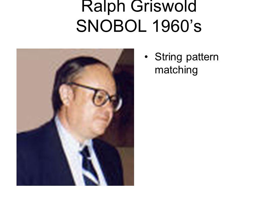 Ralph Griswold SNOBOL 1960's String pattern matching