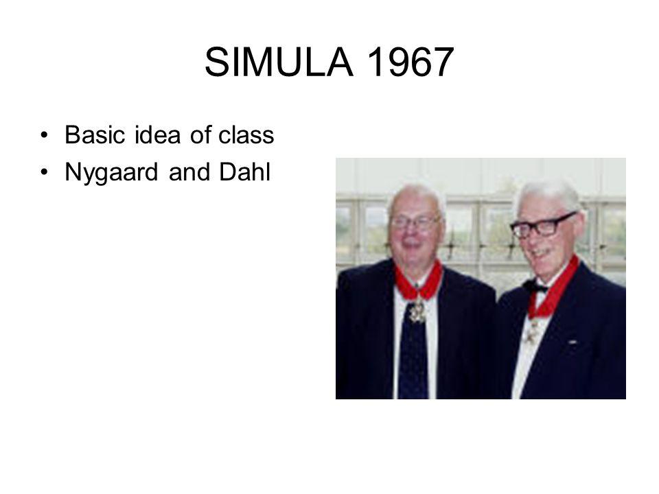 SIMULA 1967 Basic idea of class Nygaard and Dahl
