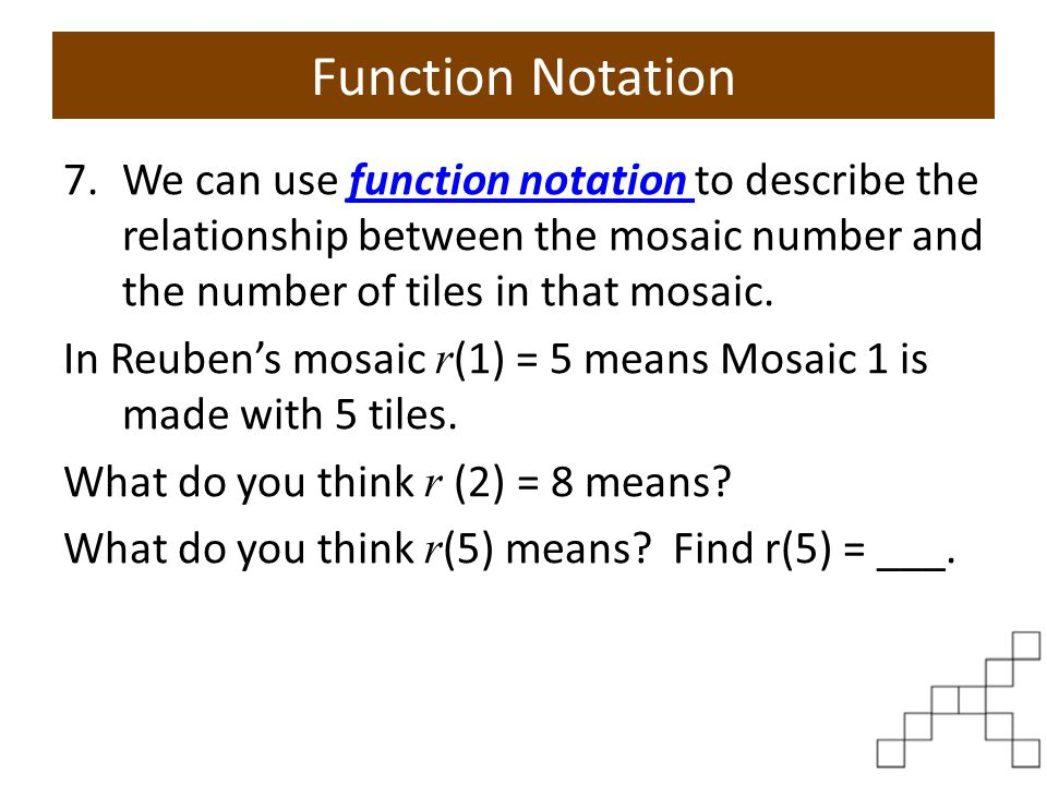 Function Notation What do you think r ( n ) = 32means.